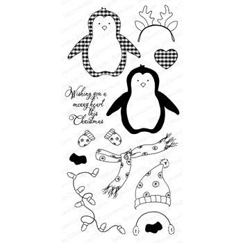 Impression Obsession Clear Stamp MERRY PENGUIN WP816