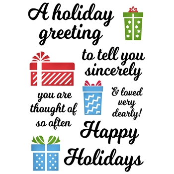 Inky Antics HOLIDAY GREETING Clear Stamp Set 11385mc