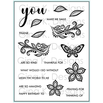Gina K Designs BOHO FLOWERS Clear Stamps 9308