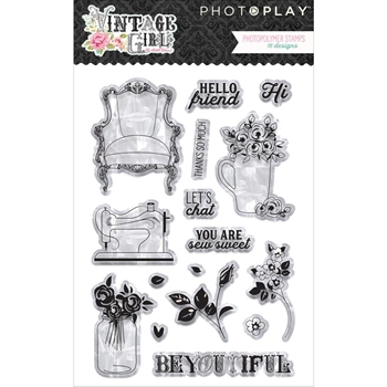PhotoPlay VINTAGE GIRL Clear Stamps vg2960