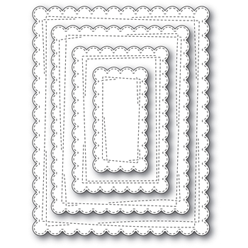Memory Box WRAPPED SCALLOPED RECTANGLES Open Studio Craft Die Set 30112