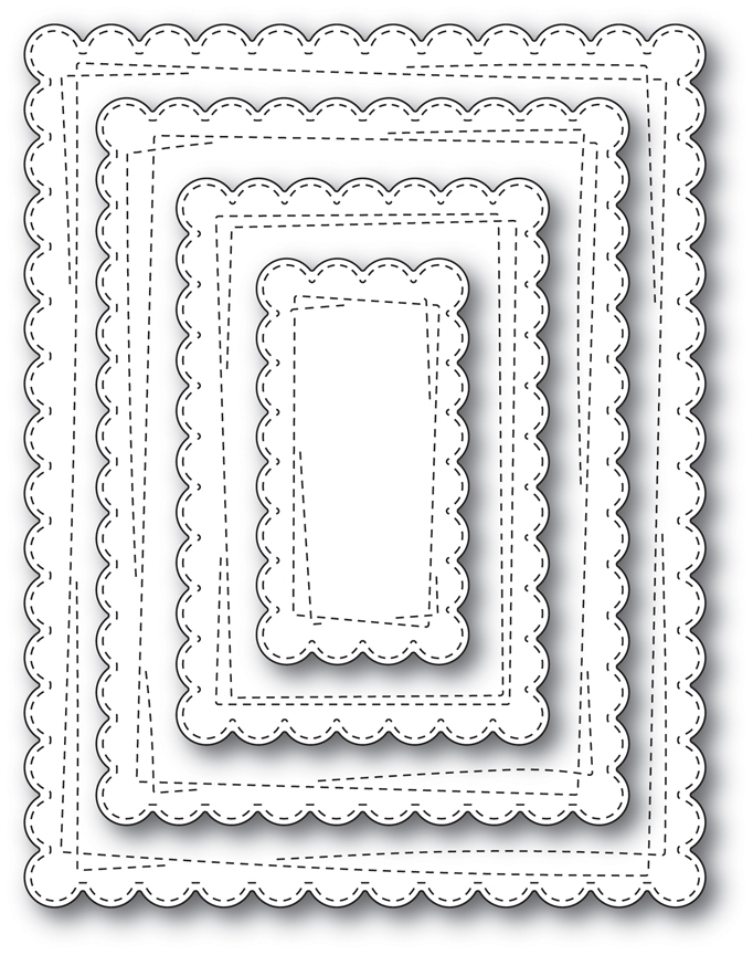 Memory Box WRAPPED SCALLOPED RECTANGLES Open Studio Craft Die Set 30112 zoom image