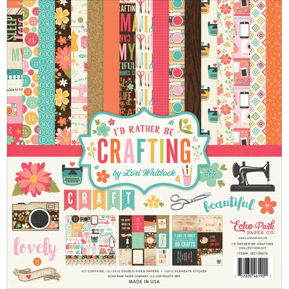 Echo Park I'D RATHER BE CRAFTING 12 x 12 Collection Kit ibc138016 zoom image