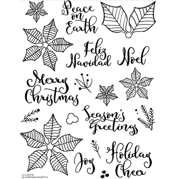 Joy Clair 3D CHRISTMAS POINSETTIA Clear Stamp Set clr02142