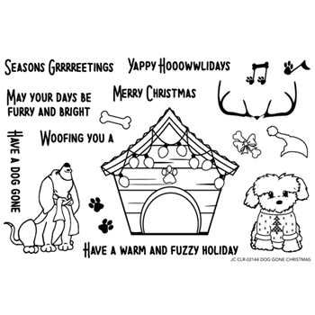 Joy Clair DOG GONE CHRISTMAS Clear Stamp Set clr02144