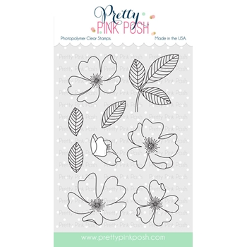 Pretty Pink Posh WILD ROSE Clear Stamp Set