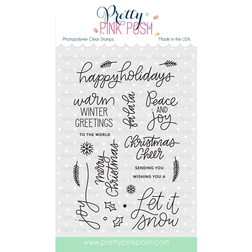Pretty Pink Posh HOLIDAY GREETINGS Clear Stamp Set Preview Image