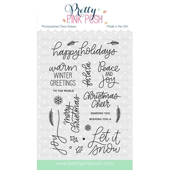 Pretty Pink Posh HOLIDAY GREETINGS Clear Stamp Set