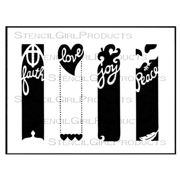StencilGirl BIBLE MARGINS FAITH LOVE JOY PEACE 9x12 Stencil L576