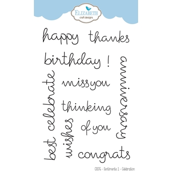 Elizabeth Craft Designs Clear Stamps SENTIMENTS 1 CELEBRATION CS076