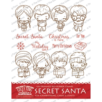 The Greeting Farm SECRET SANTA Cling Untrimmed Red Rubber Stamps TGF360
