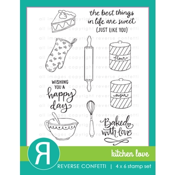 Reverse Confetti KITCHEN LOVE Clear Stamp Set