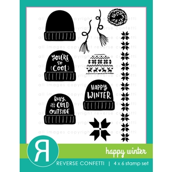 Reverse Confetti HAPPY WINTER Clear Stamp Set
