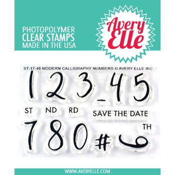 Avery Elle Clear Stamps MODERN CALLIGRAPHY NUMBERS ST-17-46