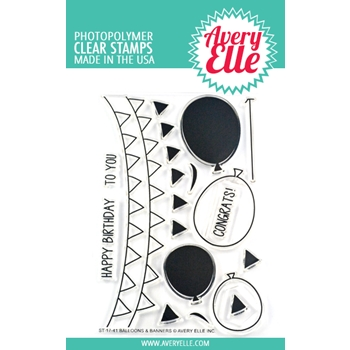 Avery Elle Clear Stamps BALLOONS AND BANNERS ST-17-41