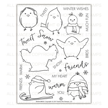 Honey Bee SNOW BIRDS Clear Stamp Set hbst-88