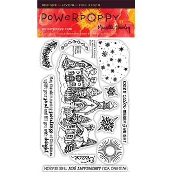 Power Poppy GLITTER HOUSE VILLAGE Clear Stamp Set PPOCT1703