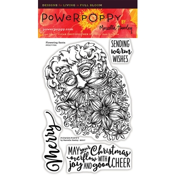 Power Poppy FLOWERING SANTA Clear Stamp Set PPOCT1705