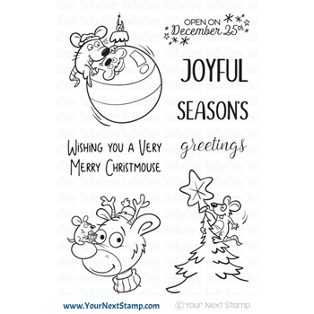 Your Next Stamp MERRY MOUSE JOYFUL GREETINGS Clear cyns614