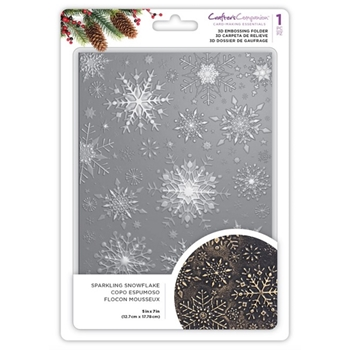 Crafter's Companion SPARKLING SNOWFLAKE 3D Embossing Folder ef5-3d-x-ssnow
