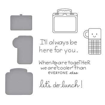 SDS-110 Spellbinders LUNCH BUNCH Cling Stamp and Die Set