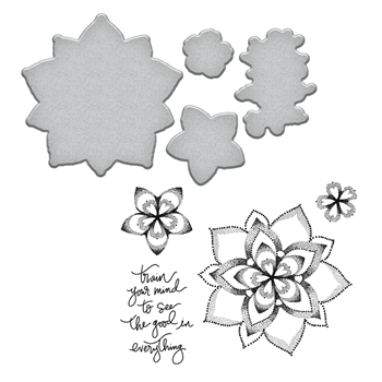 SDS-101 Spellbinders DOT MANDALA Stephanie Low Cling Stamp and Die Set