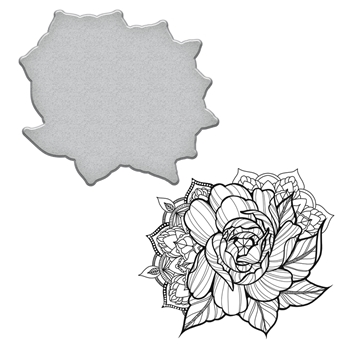 SDS-099 Spellbinders MEDIUM PEONY Stephanie Low Cling Stamp and Die Set