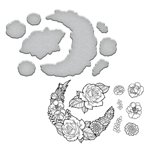 SDS-098 Spellbinders MOON FLOWER Stephanie Low Cling Stamp and Die Set* Preview Image