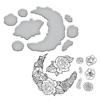 SDS-098 Spellbinders MOON FLOWER Stephanie Low Cling Stamp and Die Set