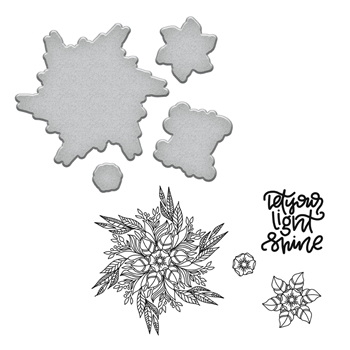 SDS-097 Spellbinders LIGHT SHINE Stephanie Low Cling Stamp and Die Set