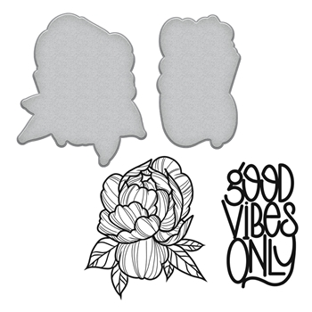 SDS-096 Spellbinders PEONY Stephanie Low Cling Stamp and Die Set