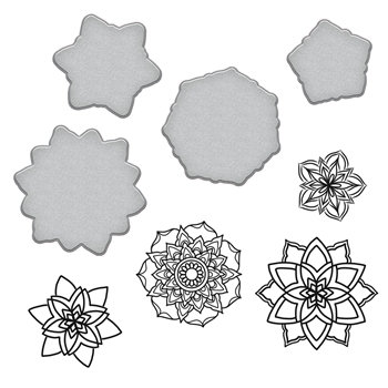 SDS-095 Spellbinders MANDALAS Stephanie Low Cling Stamp and Die Set