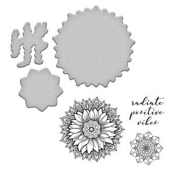 SDS-094 Spellbinders SUNFLOWER Stephanie Low Cling Stamp and Die Set