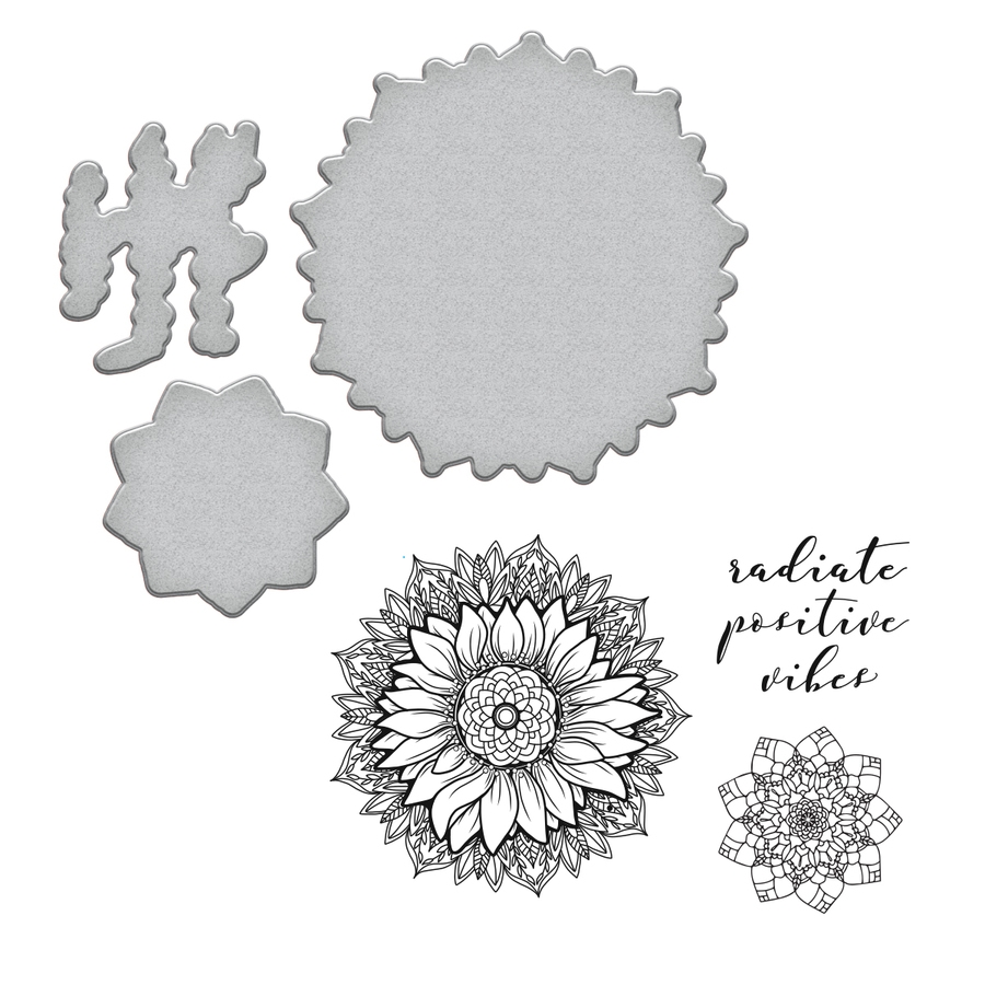 SDS-094 Spellbinders SUNFLOWER Stephanie Low Cling Stamp and Die Set* zoom image