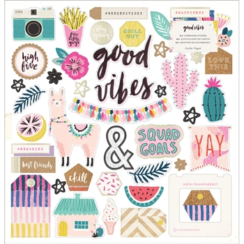 Crate Paper GOOD VIBES 12 x 12 Chipboard Stickers 344312