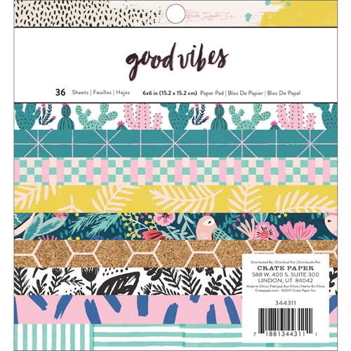 Crate Paper GOOD VIBES 6 x 6 Paper Pad 344311