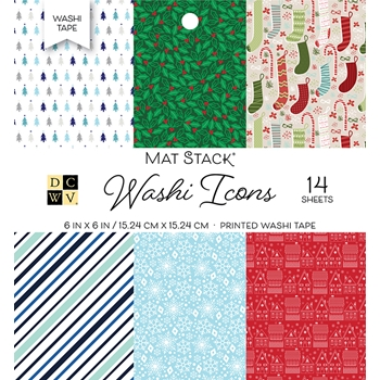 DCWV 6 x 6 CHRISTMAS WASHI ICONS Cardstock Stack ps-013-00003