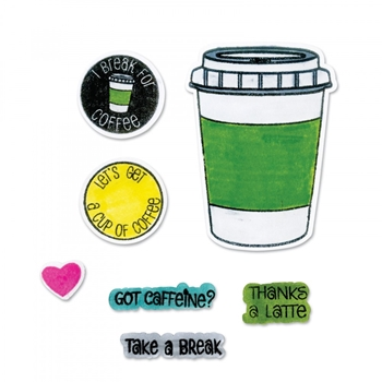 Sizzix Framelits COFFEE Combo Die and Stamp Set 662470