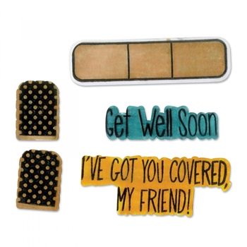 Sizzix Framelits GET WELL SOON Combo Die and Stamp Set 662473