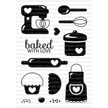 Clearly Besotted BAKED WITH LOVE Clear Stamp Set