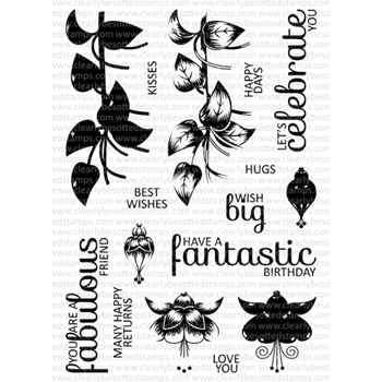 Clearly Besotted FABULOUS FUCHSIAS TOO Clear Stamp Set