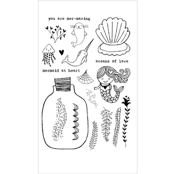 Flora and Fauna MERMAID LOVE Clear Stamp Set 20165