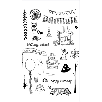 Flora and Fauna WOODLAND BIRTHDAY Clear Stamp Set 20163