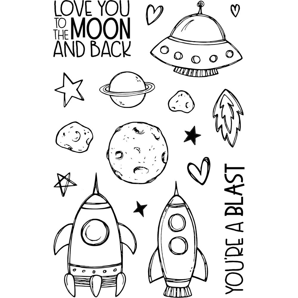 Jane's Doodles TO THE MOON Clear Stamp Set 743245 zoom image