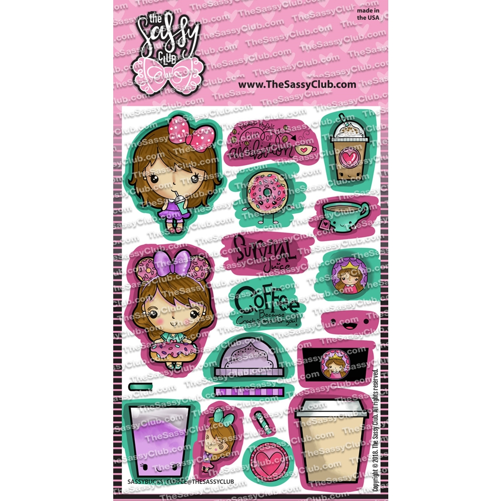 The Sassy Club SASSY BUCKS COFFEE Clear Stamps tscl110 zoom image