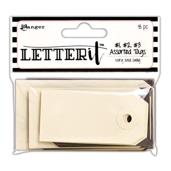 Ranger IVORY & GREY TAG ASSORTMENT Letter It les59356