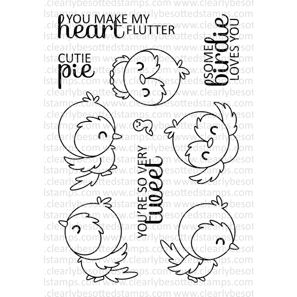 Clearly Besotted YOU'RE SO TWEET Clear Stamp Set zoom image