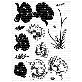Clearly Besotted PURE POPPIES Clear Stamp Set