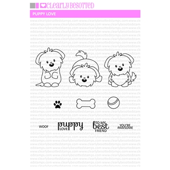Clearly Besotted PUPPY LOVE Clear Stamp Set