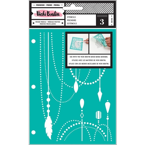American Crafts Vicki Boutin ALL THE GOOD THINGS Mixed Media Stencils 343895 Preview Image
